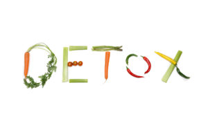 detox written with vegetables